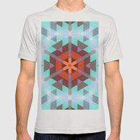 Geo Metrics 3 Mens Fitted Tee Silver SMALL