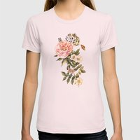 Vintage Floral Watercolo… Womens Fitted Tee Light Pink SMALL