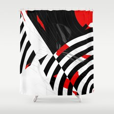 black and white meets red Version 8 Shower Curtain