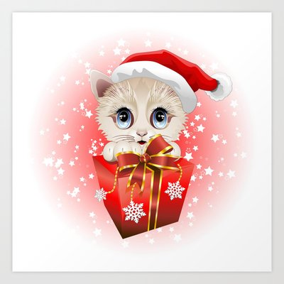 Kitten Christmas Santa with Bi...