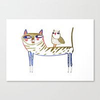 cat and owl, cat art, cat print, cat illustration, cats, cat, owl print,  Canvas Print
