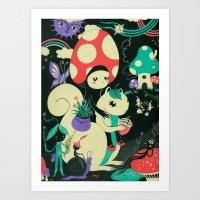 Mushroom and Squirl Art Print
