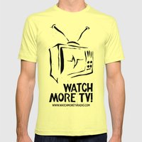 Watch More TV Radio Mens Fitted Tee Lemon SMALL