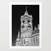 Pierhead Building Cardiff Bay Monochrome Art Print