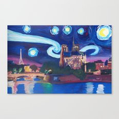 Starry Night in Paris - Van Gogh Inspirations with Eiffel Tower and Notre Dame Canvas Print