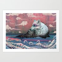 snow Art Prints featuring Lone Wolf by Mat Miller