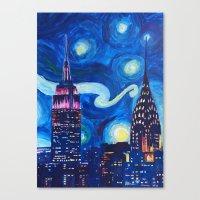 Starry Night in New York - Van Gogh Inspirations in Manhattan Canvas Print