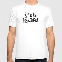 Life Is Beautiful (white… Mens Fitted Tee White SMALL