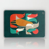 Laptop & iPad Skin featuring Flock Of Birds by Budi Kwan