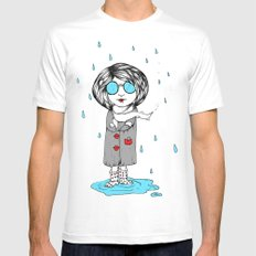 In the Rain White SMALL Mens Fitted Tee