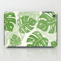 Linocut Monstera Leaf Pattern iPad Case