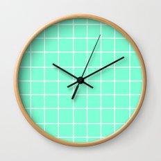 Grid (White/Aquamarine) Wall Clock