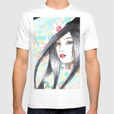 Geisha Glance White Mens Fitted Tee SMALL