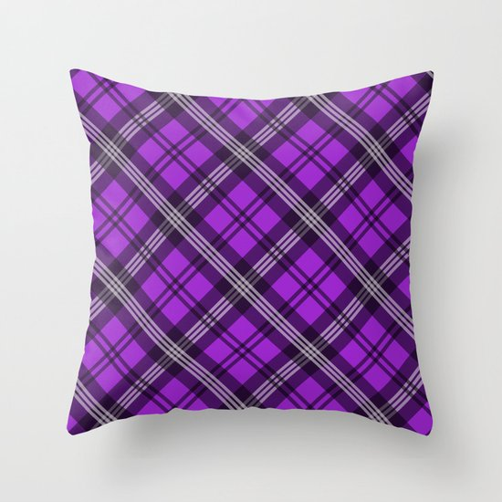 Scottish Plaid (Tartan) - Purple Throw Pillow
