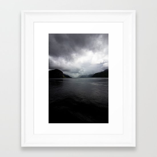 Clouded Fjord Framed Art Print