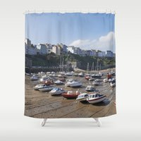 Boats In Tenby Harbour A… Shower Curtain