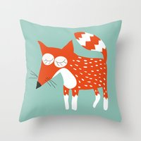 Sleeping fox blue Throw Pillow