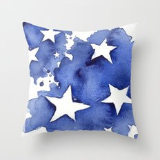 Stars Abstract Blue Watercolor Painting Throw Pillow