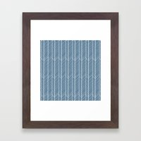 Herringbone Navy Inverse Framed Art Print