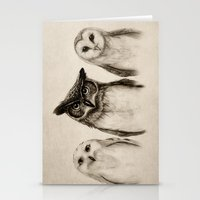 illustration Stationery Cards featuring The Owl's 3 by Isaiah K. Stephens