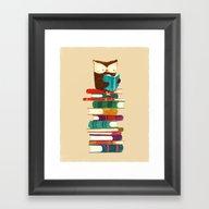 Owl Reading Rainbow Framed Art Print
