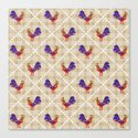 Rooster Pattern Canvas Print