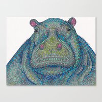 Hippie-Potamus (Blue) Canvas Print
