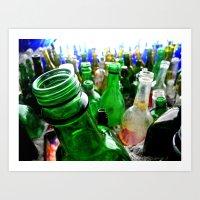 A wall of bottles Art Print