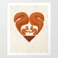 Love Heart Squirrels Art Print