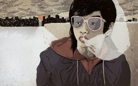 Walking the Winter Streets Art Print