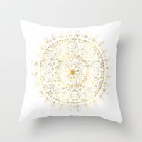 Gold Hand Drawn Mandala Throw Pillow