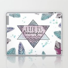 Life is beautiful (watercolor boho feathers) Laptop & iPad Skin