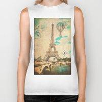 Vintage Eiffel Tower Paris Biker Tank