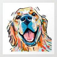 Smiling Golden Retriever Art Print