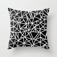 Abstract Outline Thick White on Black Throw Pillow