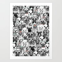 Just Dogs Coral Mint Art Print