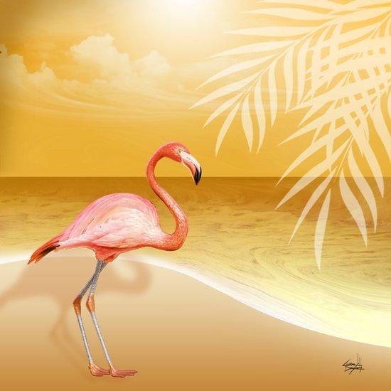 FLAMINGO BEACH | gold Art Print