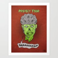 Zombie Brains Art Print