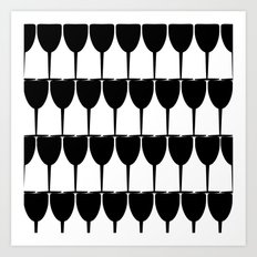 Vino - Black on White Art Print