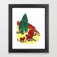 Big Moo, Wee Moo (colore… Framed Art Print