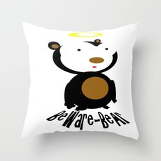 Beware Bear Throw Pillow