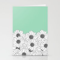 Daisy Boarder Mint Stationery Cards