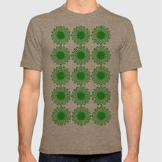 vintage flowers green Mens Fitted Tee Tri-Coffee SMALL