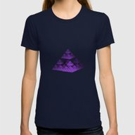 3D Fractal Pyramid Womens Fitted Tee Navy SMALL