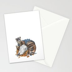 ferret and skull Stationery Cards