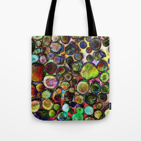 Colored Wood Pile 2 Tote Bag