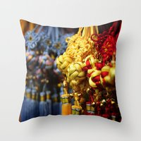 Asian tassles Throw Pillow