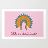 native american Art Prints featuring Native American by Adrienne DeWilde