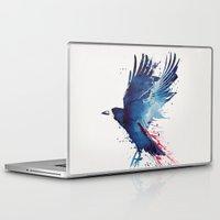 bird Laptop & iPad Skins featuring Bloody Crow by Robert Farkas