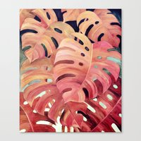 Monstera Love in Magenta and Coral - oil painting Canvas Print
